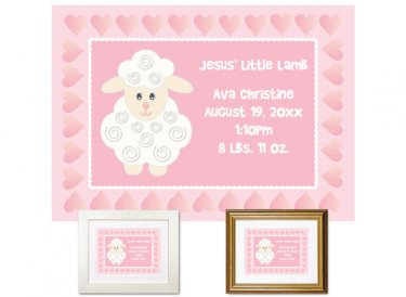 Newborn Gifts - Birth Stats - Little Lamb (pink)