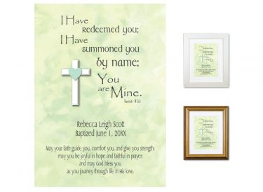 Personalized Baptism Gift - You Are Mine (green)