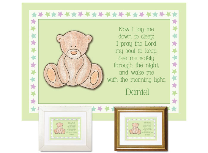Children's Prayer - Now I Lay Me Down (Teddy Bear, Green) - Click Image to Close