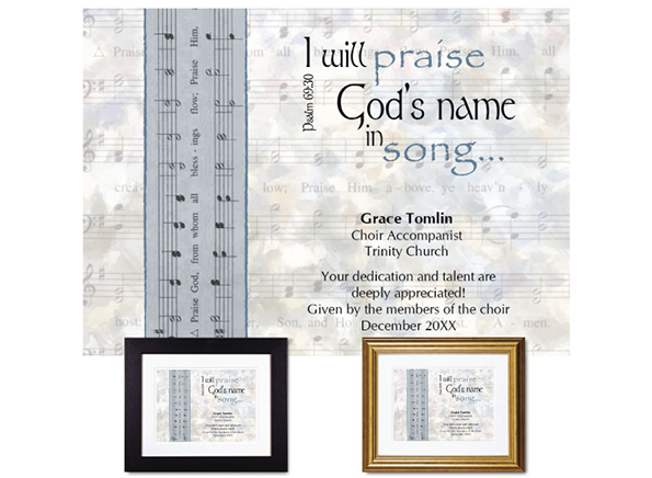 Personalized Musician Appreciation Plaque from The Christian Gift